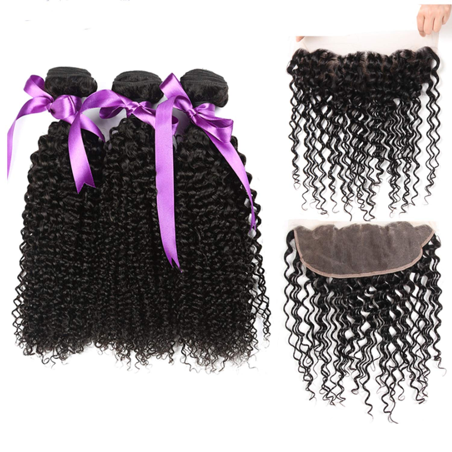 Hair Extension Brazilian Kinky Curly Wave 3 Bundles With 134 Lace Frontal Closure Hair Weave Bundles Human Hair Extension (Length : 26 26 26Cl20)