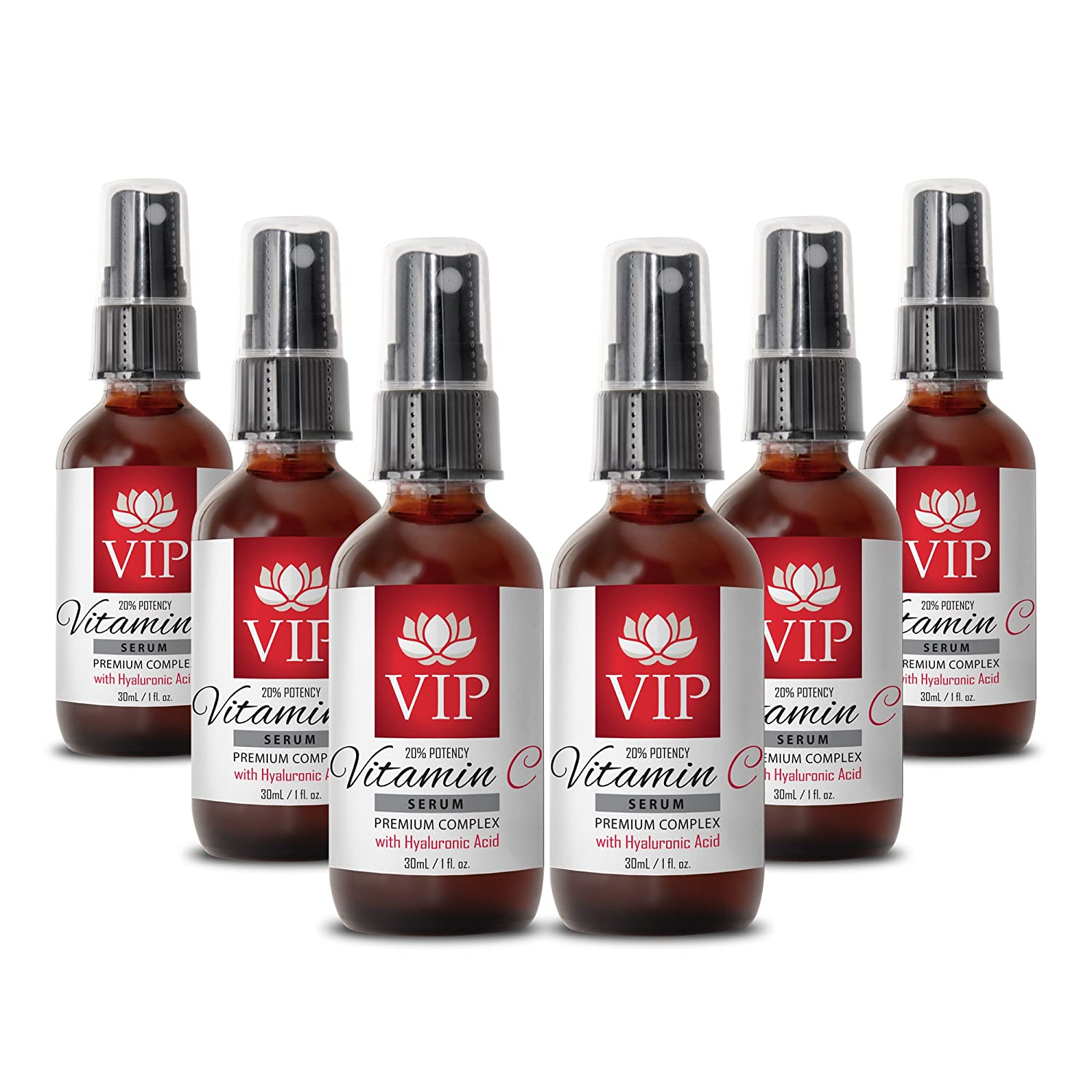 Face serum anti wrinkle - VITAMIN C SERUM PREMIUM COMPLEX With Hyaluronic Acid (20% Potency) - Anti wrinkle serum - 6 Bottles