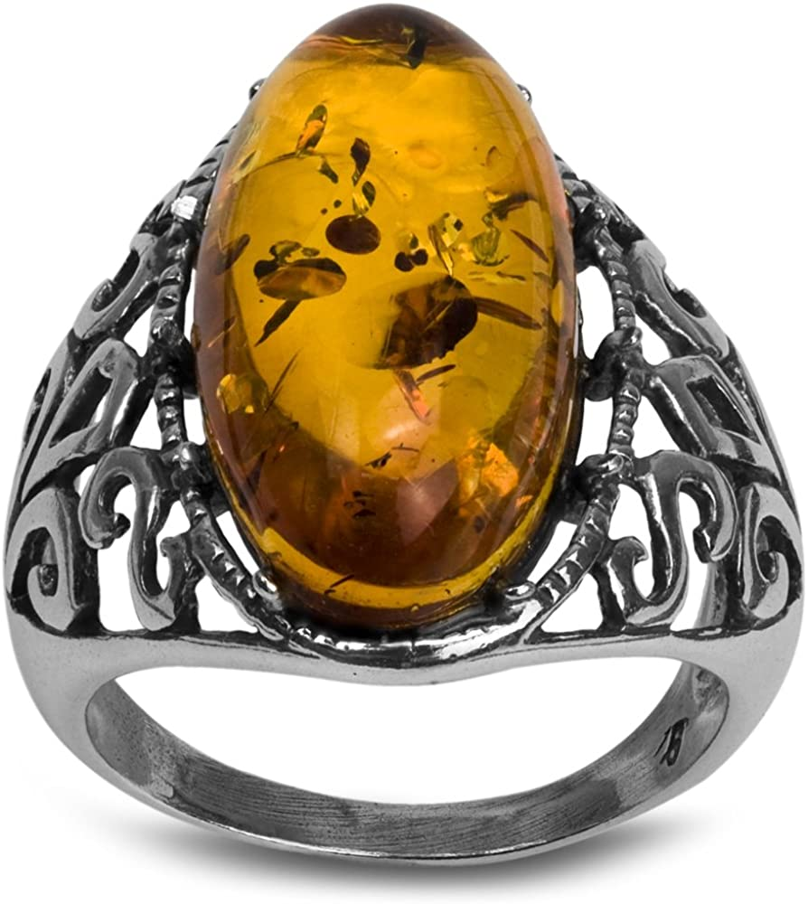 Sterling Silver Amber Oval Classic Ring