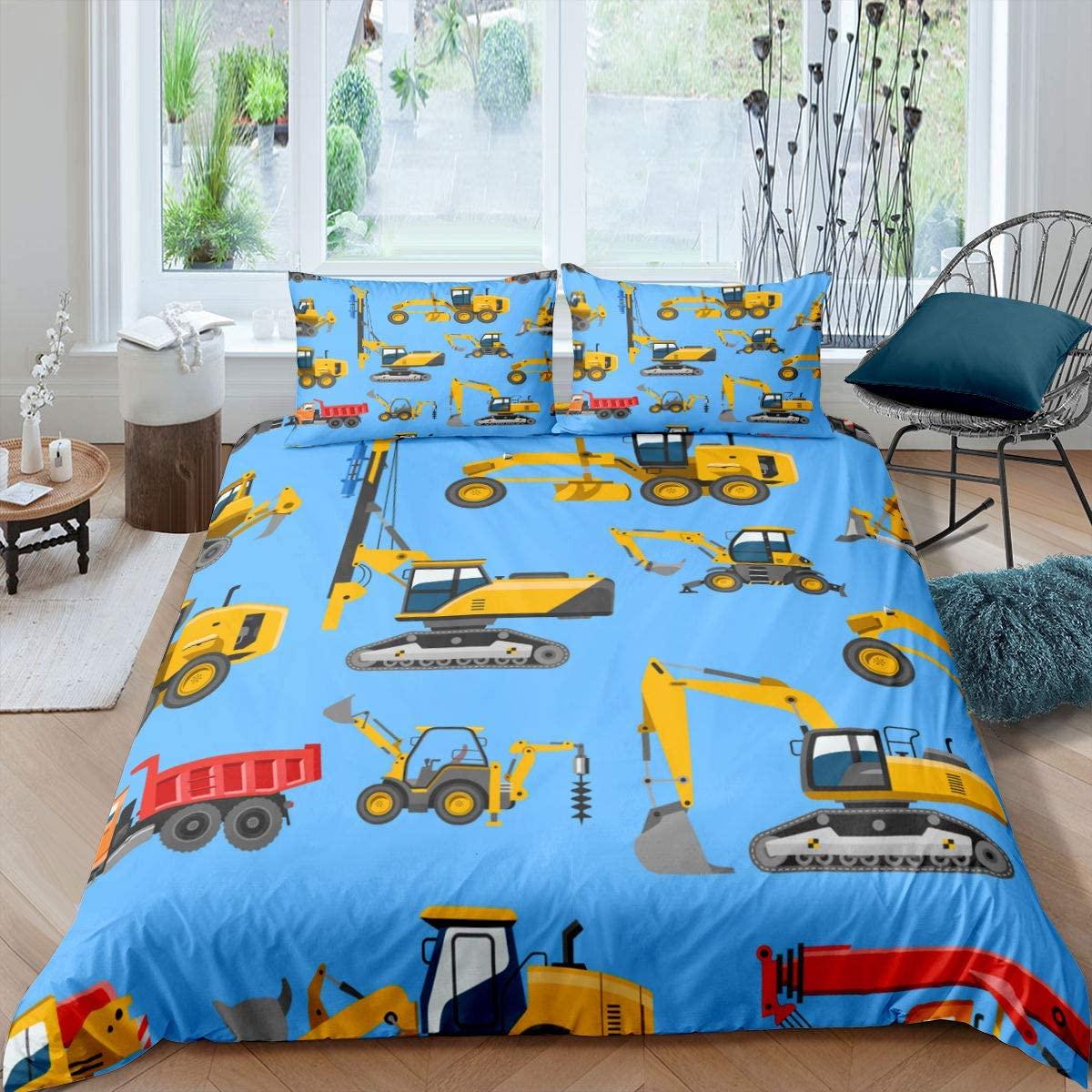 Erosebridal Construction Tractor Duvet Cover, Excavators Comforter Cover Queen Size, Crane Bedding Set, Equipment Trucks Vehicle Quilt Cover for Kids Boys Teens Gift Bedroom Decorative,Blue