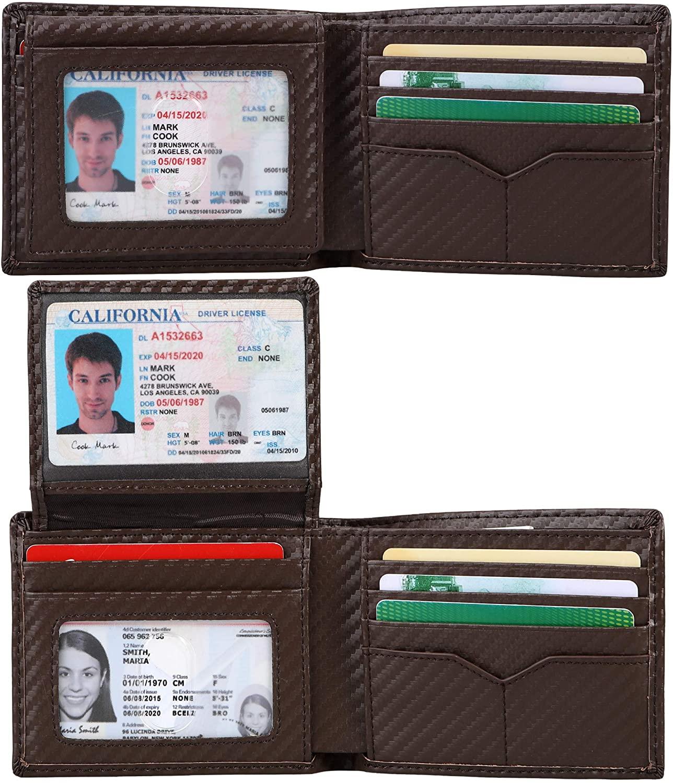 Cynure Men's RFID Blocking Leather Slim Credit Card Bifold Wallet with 3 ID Windows