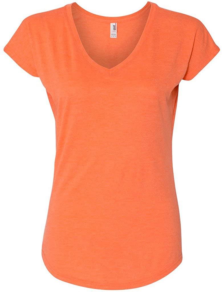 Yoga Clothing For You Ladies Triblend V-Neck Tee, Medium Heather Orange