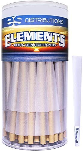 Elements Cones King Size | 100 Pack | Natural Pre Rolled Rice Rolling Paper with Tips and Packing Sticks Included