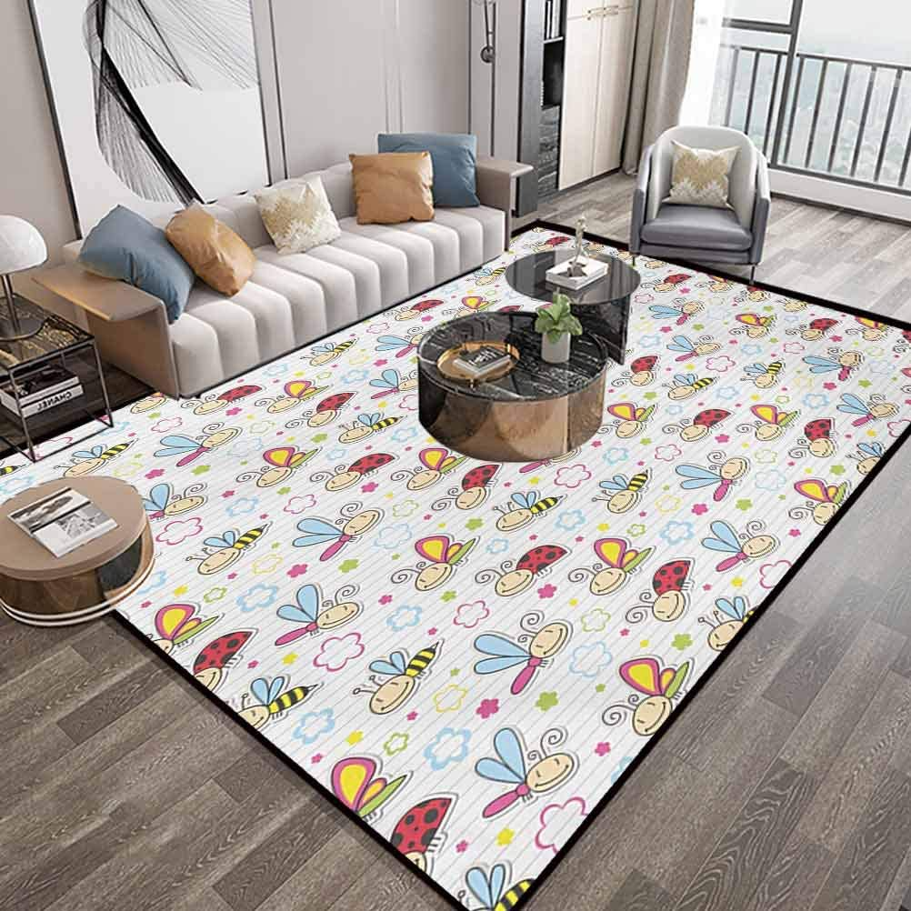 Nursery Large Area Rugs Carpet 6X9 Feet,Adorable Bugs with Colorful Flowers Ladybugs Dragonflies Bees Animal Fun,Luxury Large Floor Carpet with Lock-Edge & Non-Slip Base,Pale Blue Pink Red