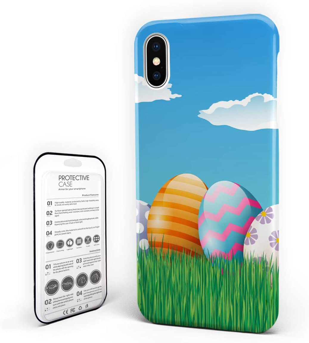 DJI Customize Phone Protective Cover Happy Easter Colorful Eggs in Grass Artwork Spring Festival Ultra Slim Protective Hard Plastic Case Cover for iPhone x