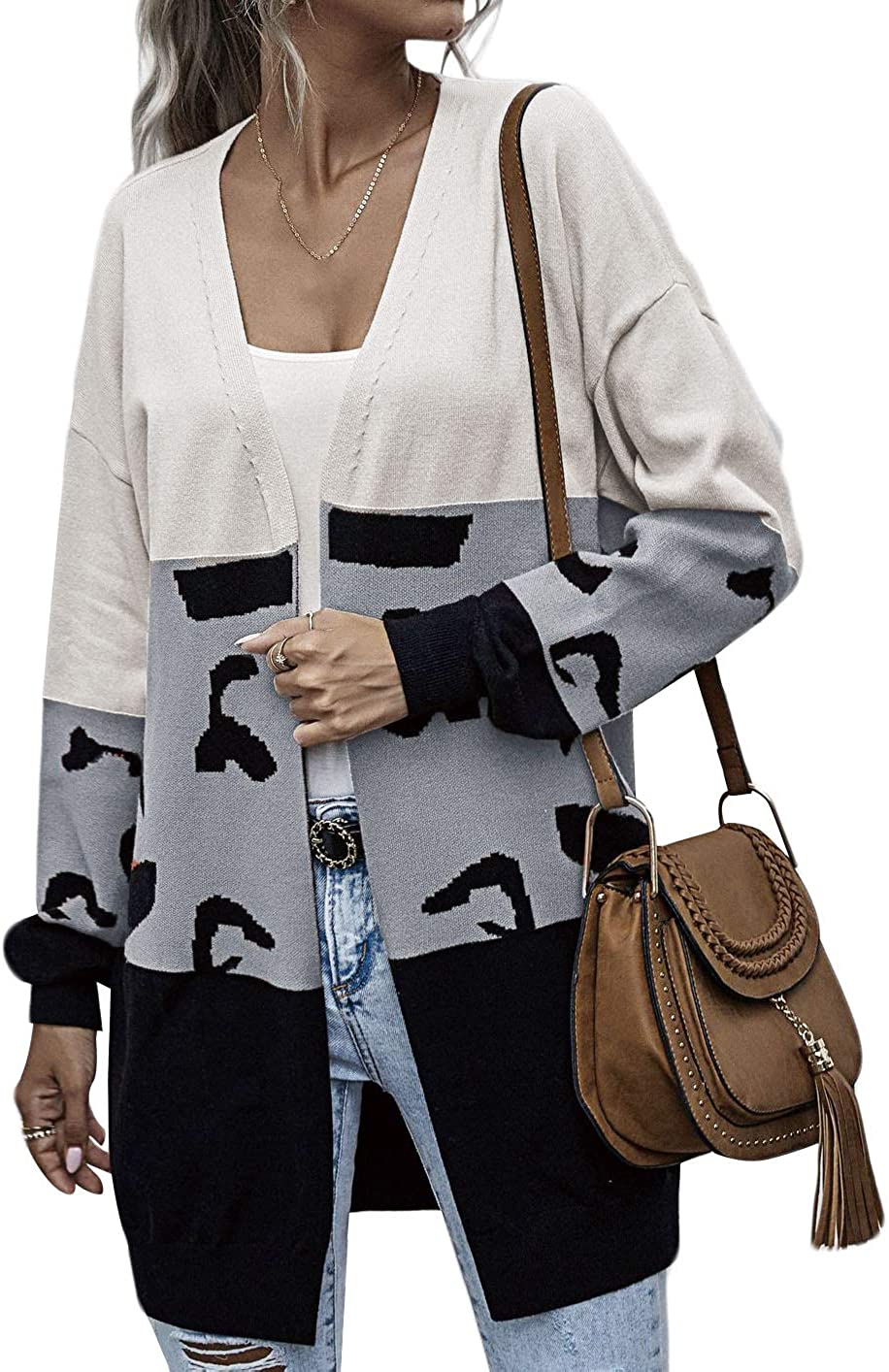 Monland Sweater Women's Casual Mid-Length Leopard Print Stitching Cardigan Autumn Winter Sweater Fashion Coat Coffee S Size