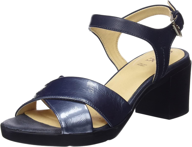 Geox Women's Heels Open Toe Sandals, Blue Navy C4002, 5.5 UK
