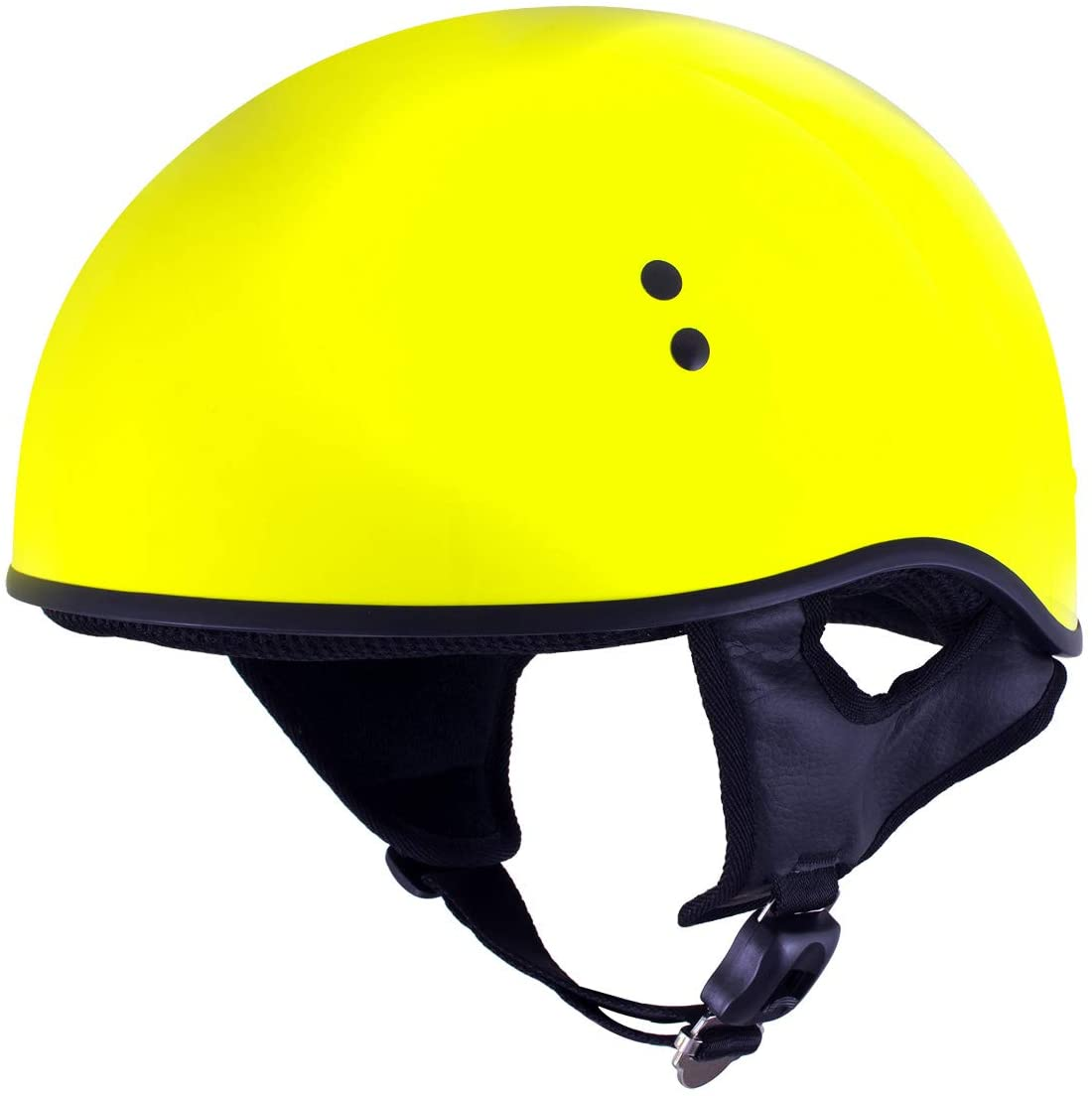Outlaw T68 'The O.G.' Hi-Vis Yellow Advanced Motorcycle Skull Cap Half DOT Helmet - X-Large