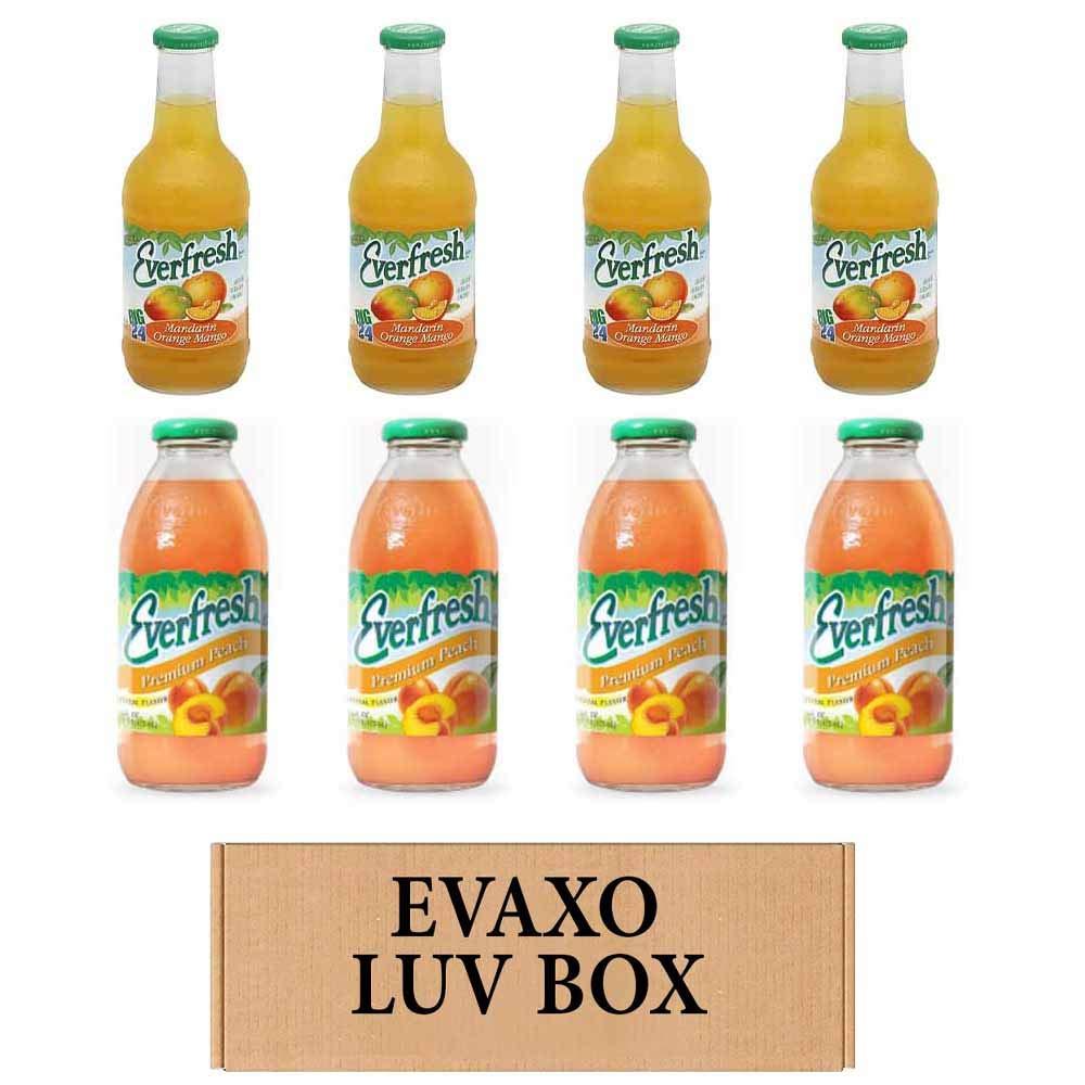 LUV BOX- variety Everfresh Juice 16 oz. pack of 8 , Everfresh Mandarin Orange Mango , Everfresh Premium Peach. #N