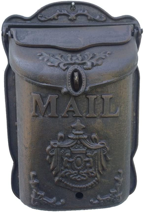 PANYFDD Mailbox Vintage Letter Mail Post Box Mailbox Letterbox Antique Metallic Wall Mount Mailbox Garden, Porch (Color : B)