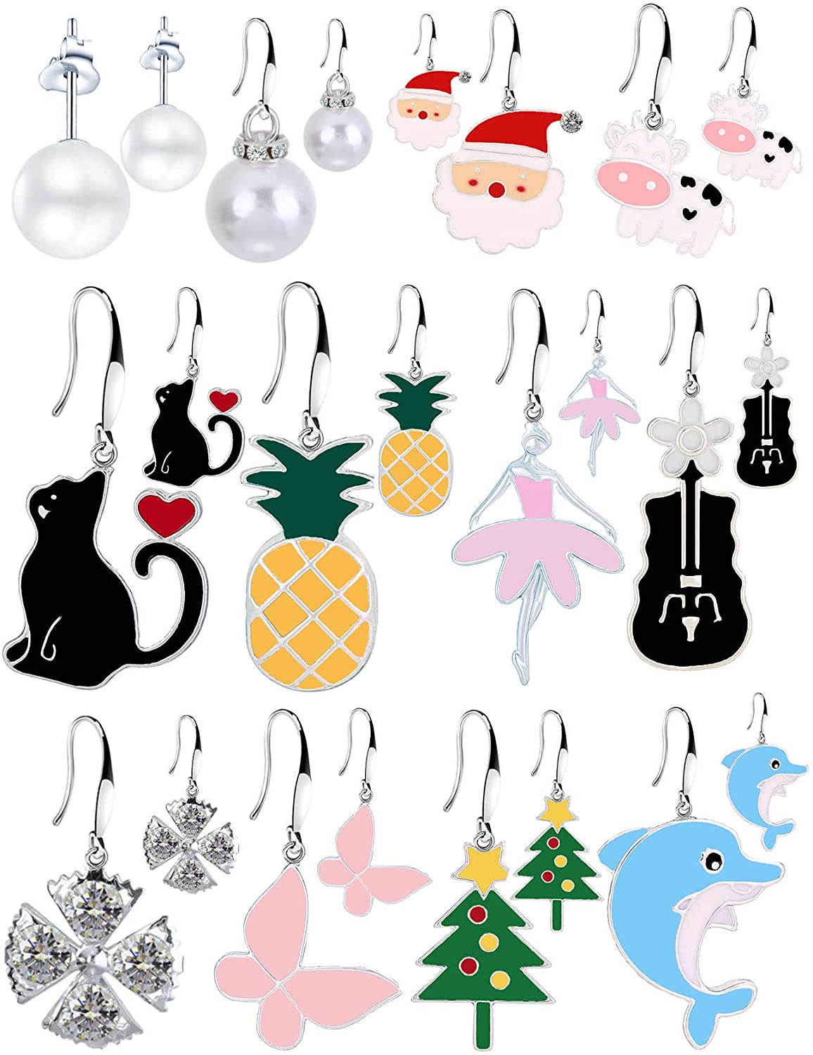 12/14/16 Pairs of Girls' Cute Hypoallergenic Alloy Dangle Earrings for women, Multiple Colour Fruit Snowflake Pet Pearl Dolphin Cat Puppy Butterfly coins Santa Christmas Tree Cartoon Dangle Earrings