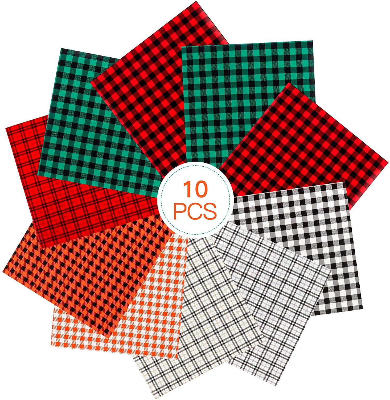 Casiwaft Christmas Halloween 10 pcs Buffalo Plaid Heat Transfer Vinyl,HTV Vinyl Sheets for DIY Iron on Fabrics T-Shirt,12 x 10 for Cricut