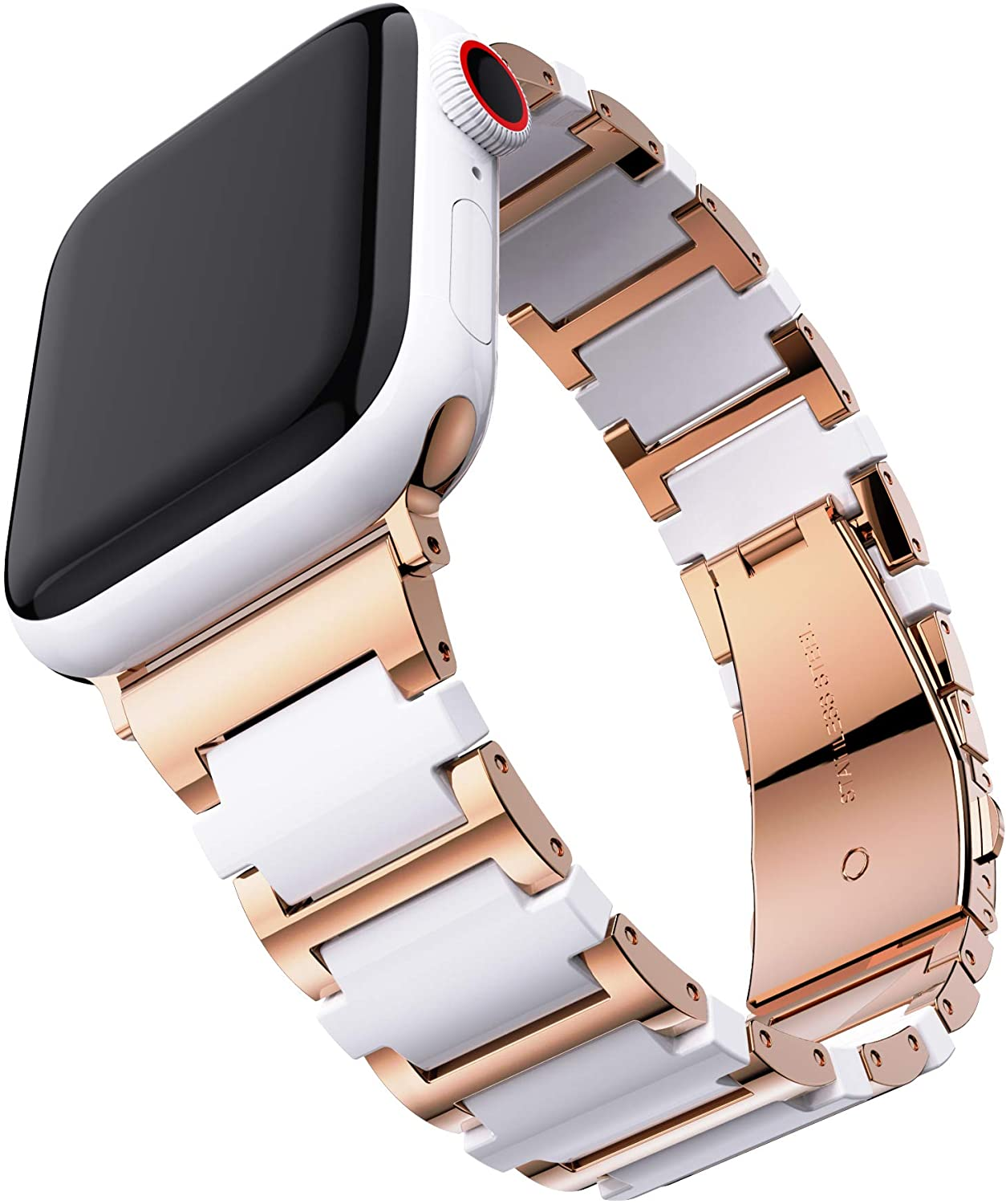 T-ENGINE Ceramic Metal Link Band Compatible with Apple Watch Bands 38mm for Women Series 3 Series 4 Series 5 40mm SE Series 6 Rose Gold