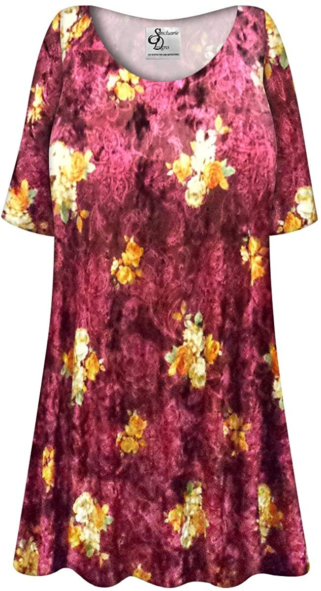 Wine Color Crush Velvet Floral Print Plus Size Extra Long A-Line Top