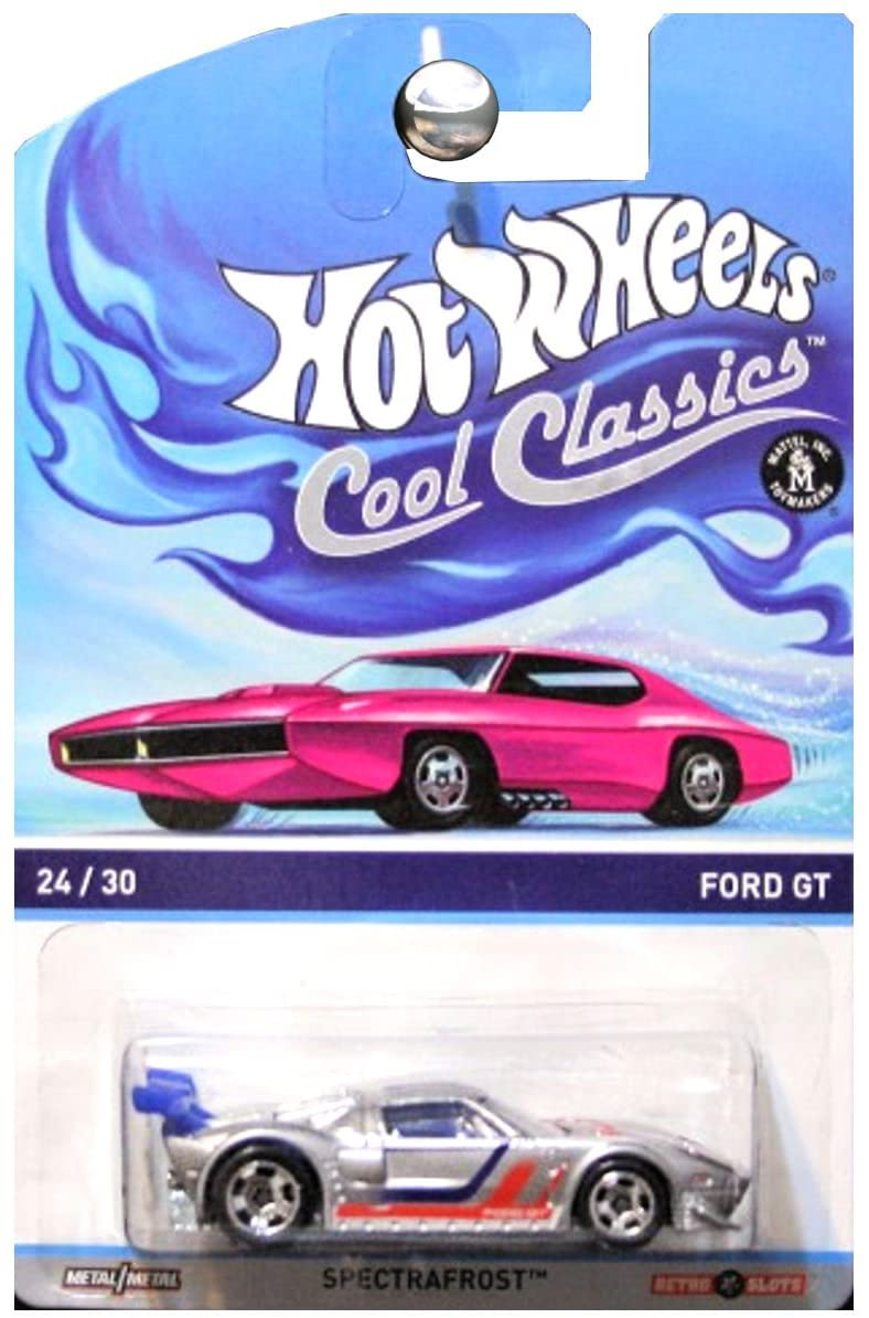 HOT WHEELS COOL CLASSICS SILVER FORD GT WITH PICTURE OF PINK CAR ON PACKAGE
