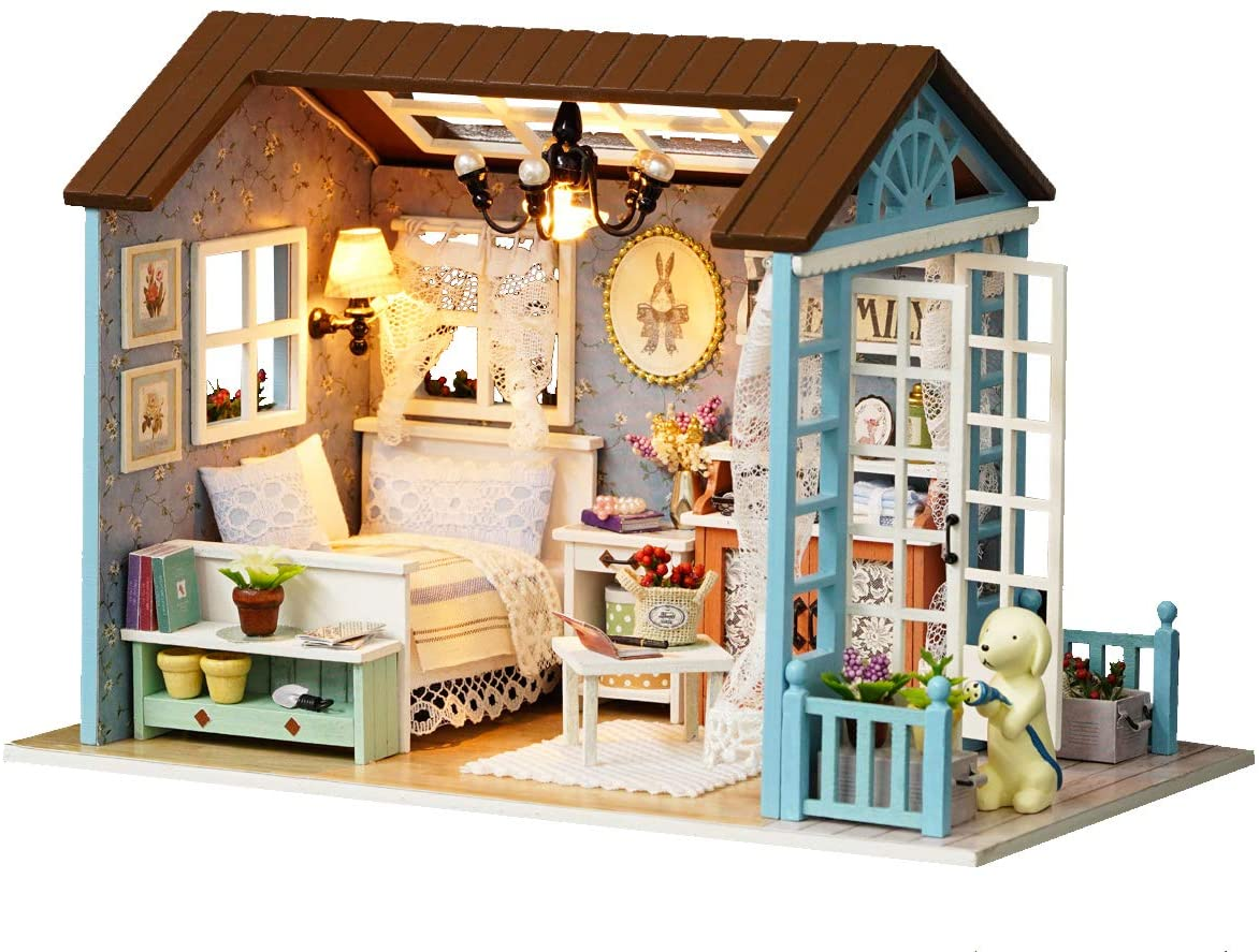 Flever Dollhouse Miniature DIY House Kit Creative Room with Furniture for Romantic Gift (Forest Time)
