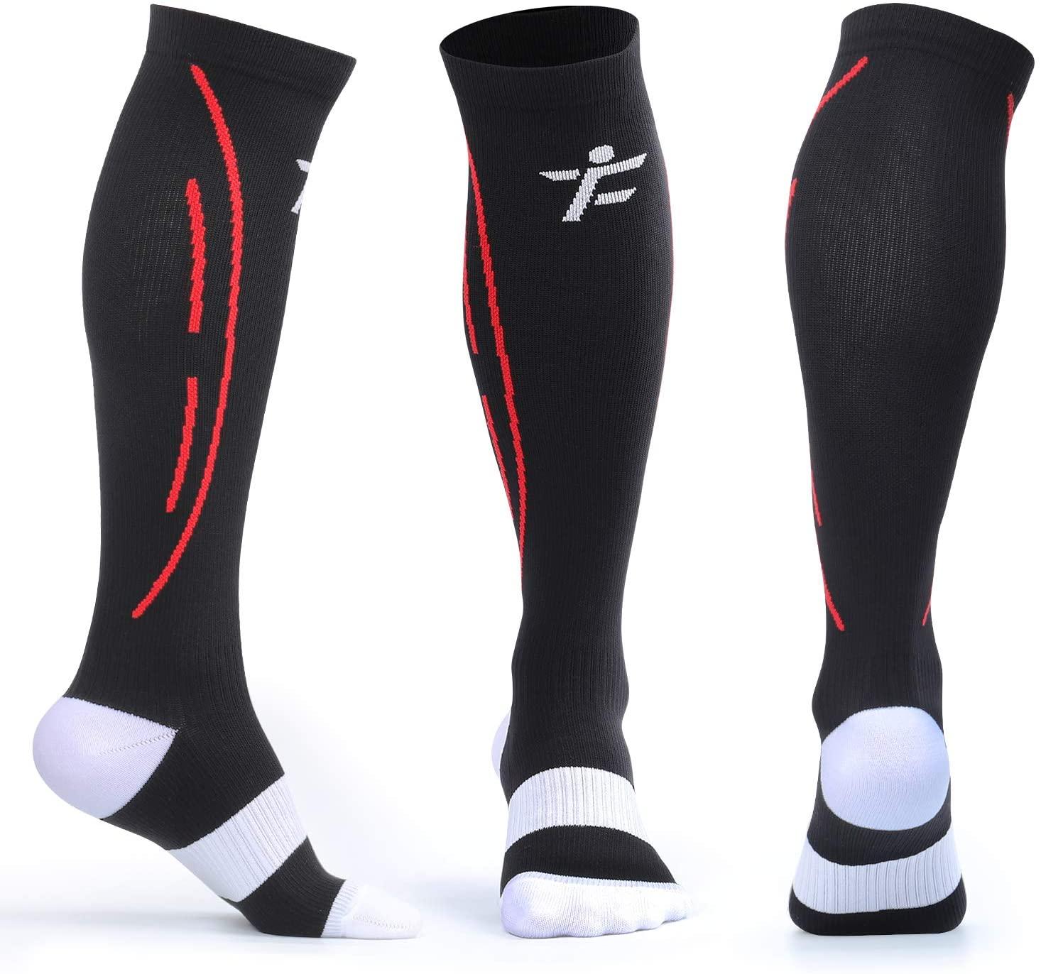 AMZAM Compression Socks for Men & Women, 2 Pairs, 15-25mmHg Graduated Nursing Compression Stockings for Athletic Sports, Running, Cycling, Flight, Travel, Nurse, Pregnancy, White + Black M
