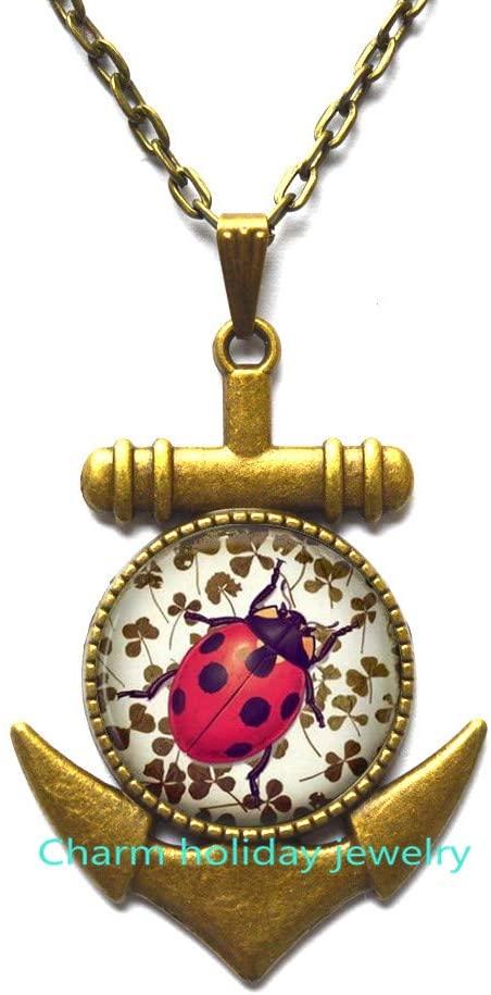 Ladybug Pendant.Ladybug Anchor Necklace.Ladybug Jewelry.Birthday Gift,Teenager Gift,Friend Gift, Animal Jewelry-#183