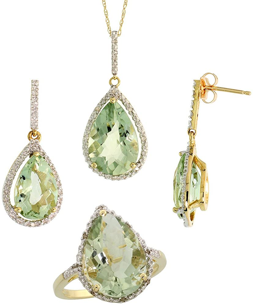 10k Gold Teardrop Dangle Earrings (26mm tall), Ring (17mm wide) & 18 in. Necklace SET, w/ Brilliant Cut Diamonds & Pear Cut Green Amethyst Stones; Ring Size 5.5