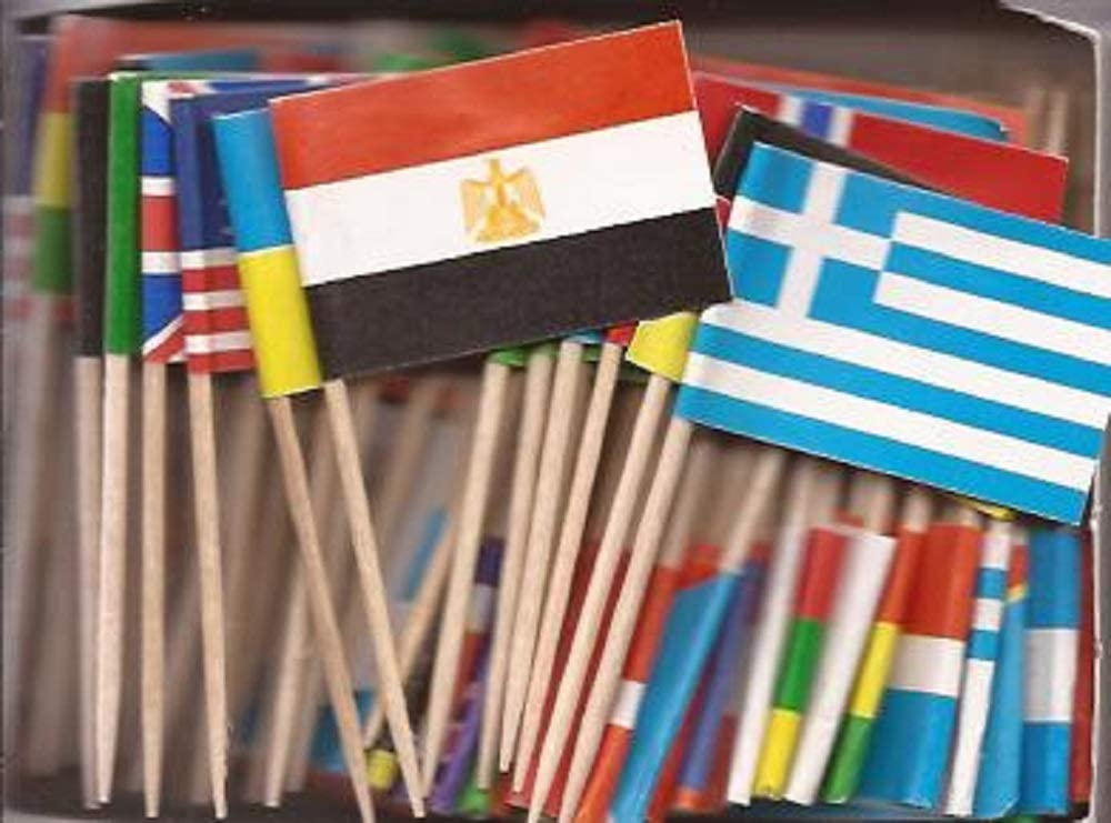 1 Box of Assorted Miniature World Toothpick Flags, 100 Small Mini Assorted Country Olympic World Cup Little Flag Cupcake Toothpicks or Cocktail Sticks & Picks (1 Box of 100)