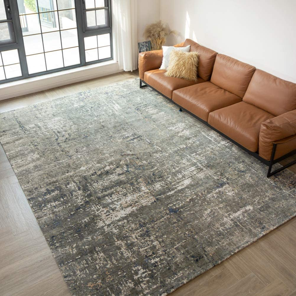 Yilong Carpet 9.1x12.3ft Large Gray Hand Knotted Wool and Silk Area Rugs Modern Abstract Oriental Carpets for Living Room Bedroom Dinning Room