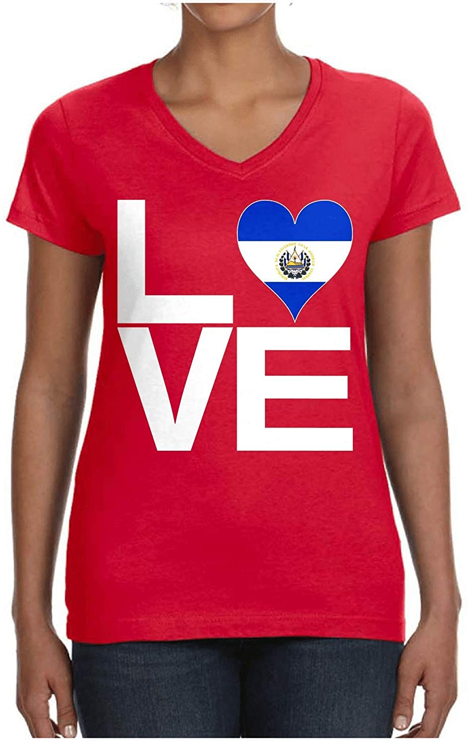 HARD EDGE DESIGN Ladies Love Block El Salvador Heart V Neck T-Shirt, Medium, Red