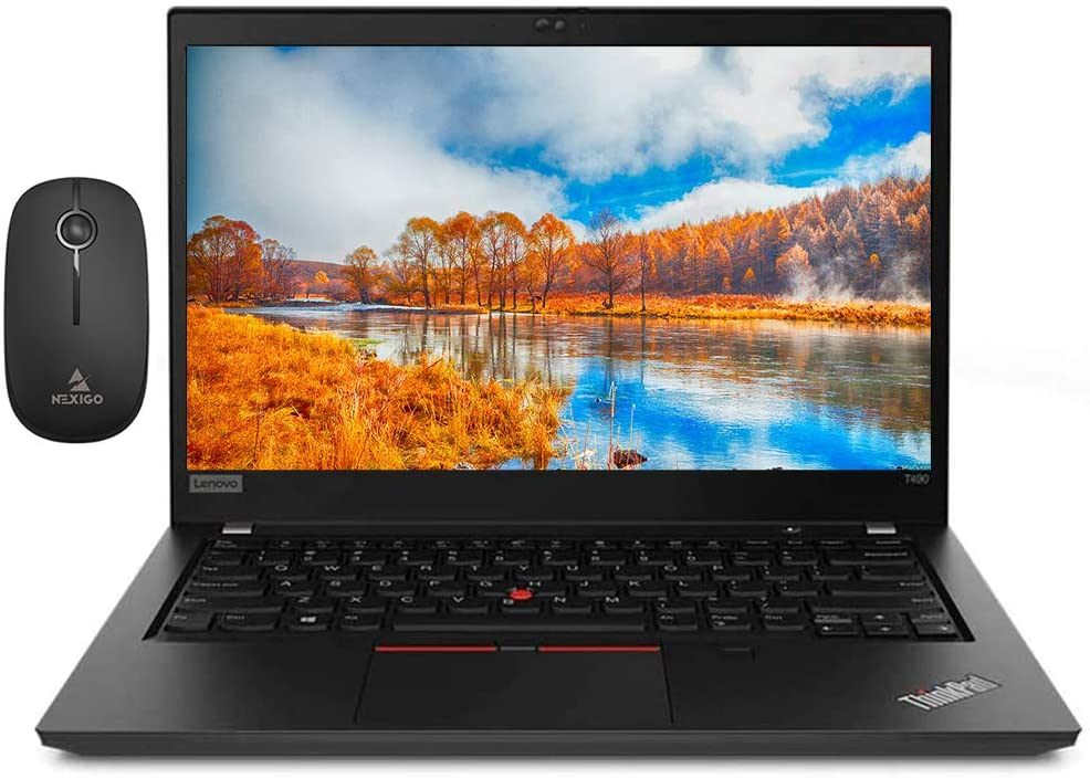 2020 Lenovo ThinkPad T490 14 Inch FHD 1080P Laptop, Intel Core i5-8265U up to 3.9 GHz, 24GB DDR4 RAM, 512GB SSD, FP Reader, WiFi, HDMI, Webcam, Win10 Pro + NexiGo Wireless Mouse Bundle