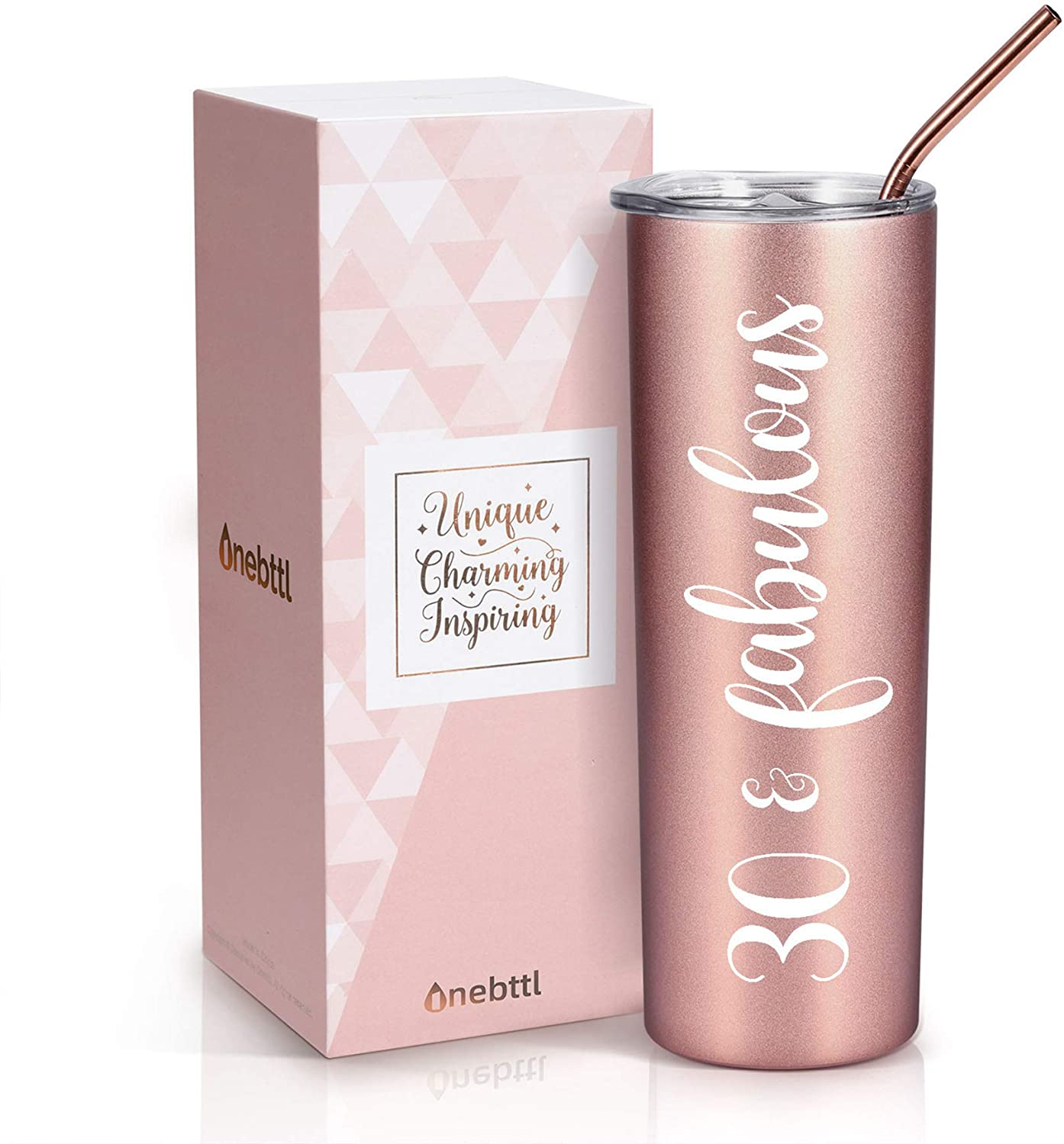 Onebttl 30th Birthday Gifts for Women, Female, Her - 30 and Fabulous - 20oz/590ml Stainless Steel Insulated Tumbler with Straw, Lid, Message Card - (Rose Gold)