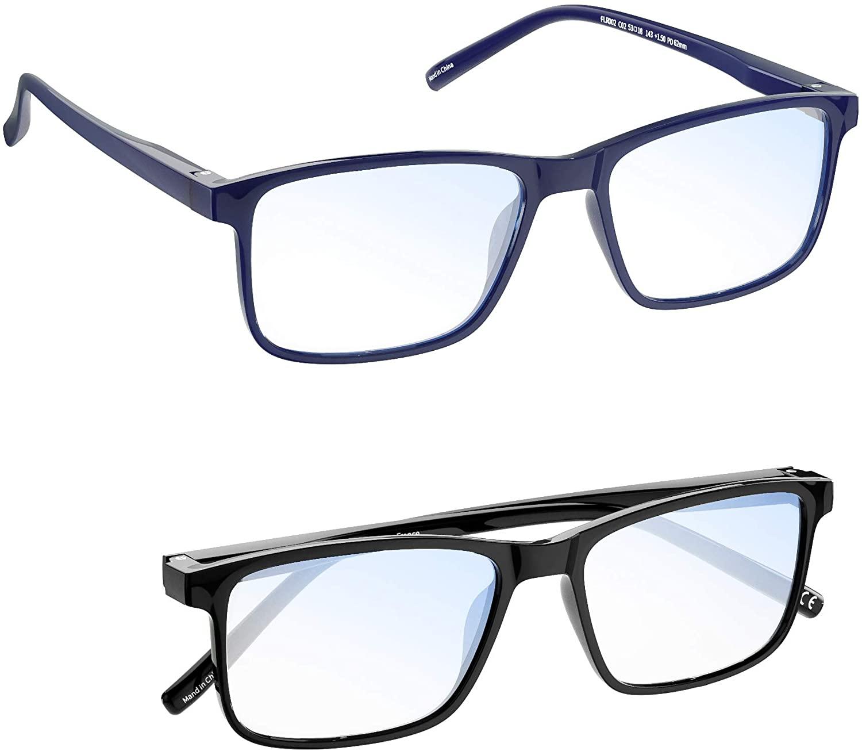 Reading Glasses Pro MADEYES Blue Light Blocking Glasses TR90 Lightweight Anti Eyestrain 410UV Magnification for Women Men Reading Computer Game Phones (1Black 1 Blue, 3.00x)