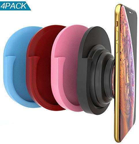 Alquar 4 Pack Phone Universal Silicon Car Mount,Coolest Collapsible Grip Stand,Strongest & Most Durable, Home, Office, Kitchen,Bedroom (Black pink red blue)