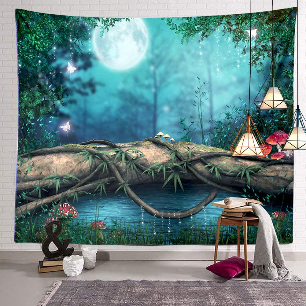BERRY Fairytale Forest Moon Tapestry River Mushroom Tree Wall Hanging Decor Indian Mandala Bohemian Hippie Trippy Large Tapestry for Bedroom Living Room Dorm(80x60 Inch)