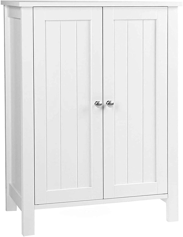 zbtrade Bathroom Floor Storage Cabinet,Modern Kitchen Cupboard 3 Tier Double Door Adjustable Shelf Storage Cabinet Closet Entryway Shoes Umbrella Shelf Bathroom Home Furniture (White) White