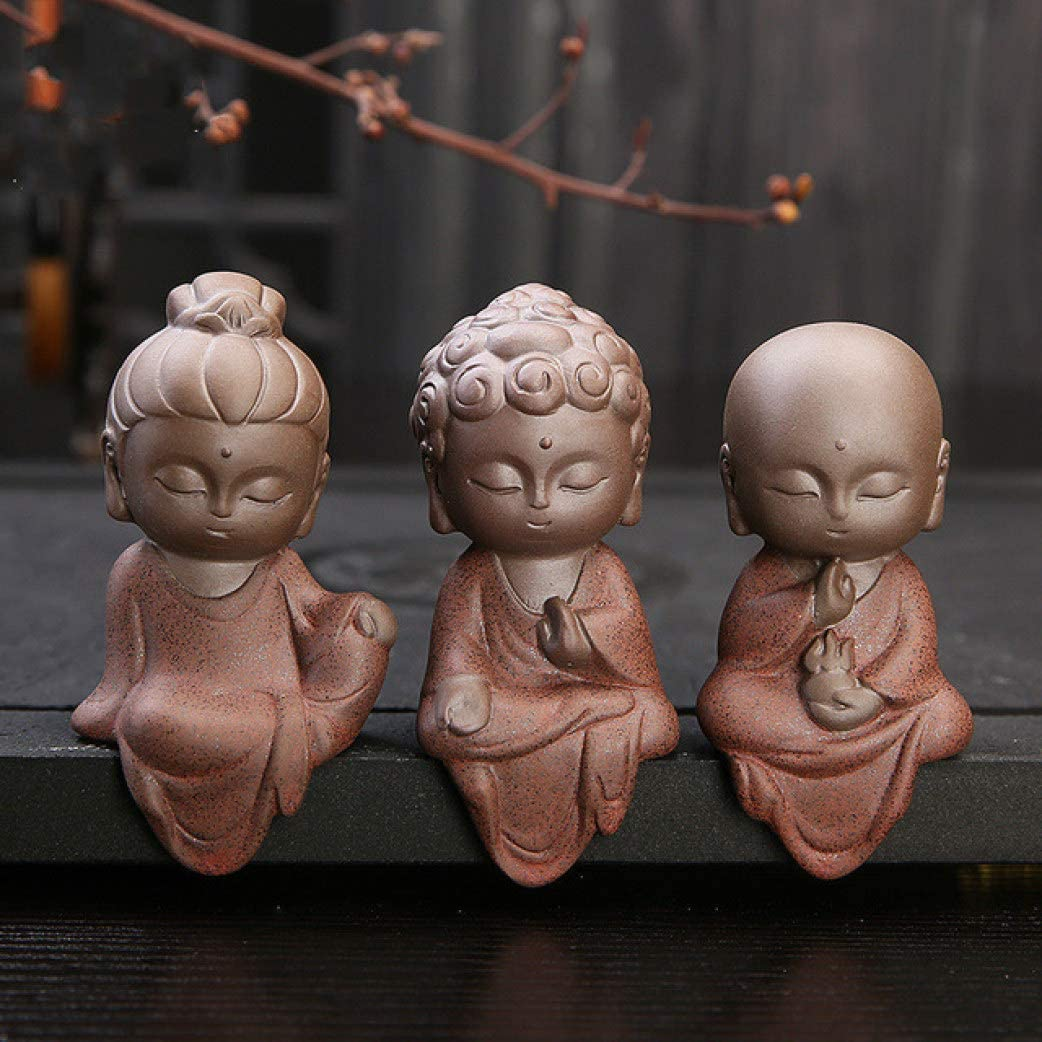 SUTECO Creative Small Meditating Ceramic Buddha Statues Buddhist Sitting Tathagata Cute Buddha Sands Home Office Garden Ornaments Boutique