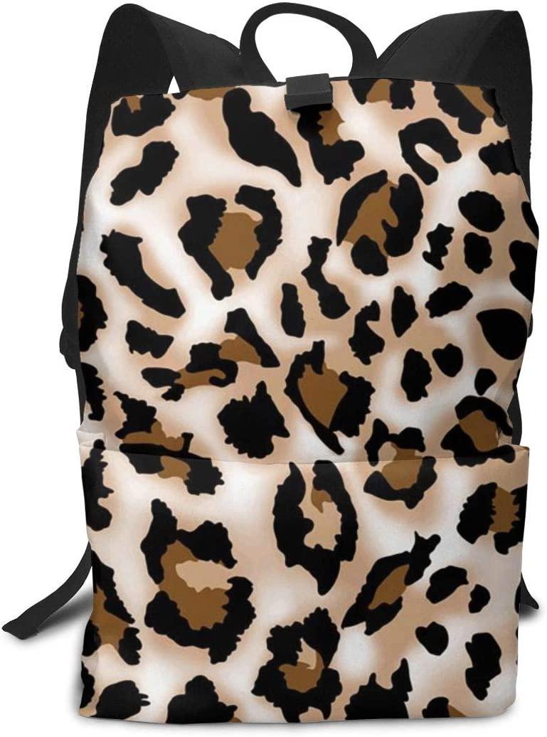 XUJ YOGA Women Men Teen Lightweight Laptop Backpack Durable College School Computer Notebook Bookbag Anti-Theft Rucksacks for Travel Outdoor Camping Hiking (Leopard Prints Printed)