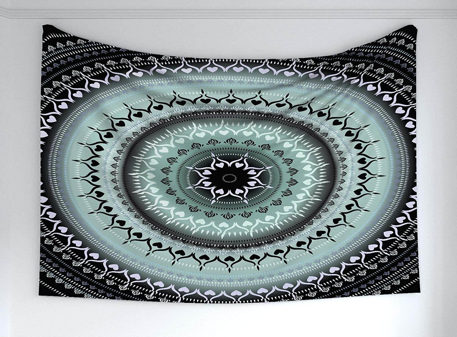 Ambesonne Mandala Tapestry, Vintage Yantra with Lines Path of Soul Inner Peace Energy Cosmos Design, Fabric Wall Hanging Decor for Bedroom Living Room Dorm, 60