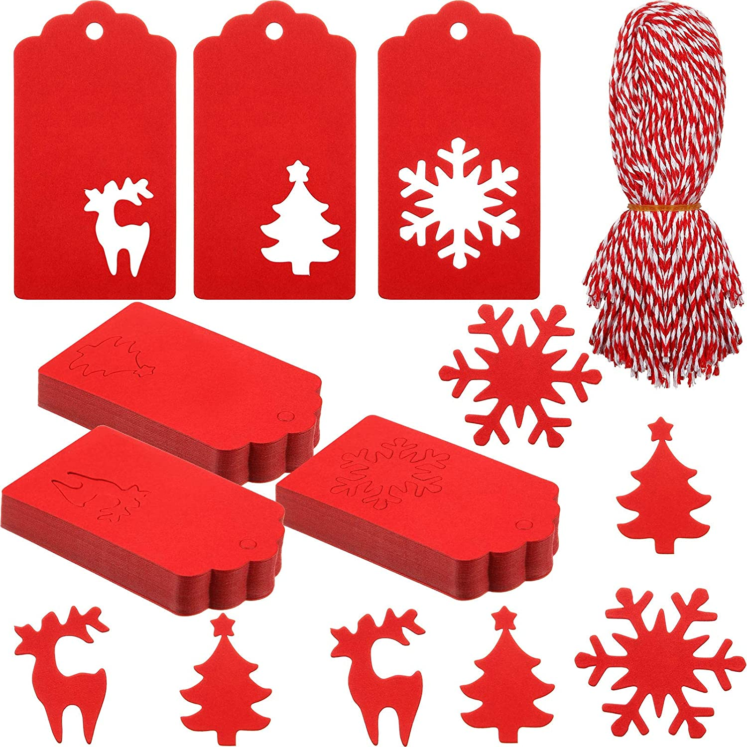 150 Pieces Christmas Paper Tags Red Kraft Tags Christmas Hang Labels in Christmas Tree Snowflake Elk Patterns with 150 Roots Red and White Twine for Christmas Home Party DIY Crafts