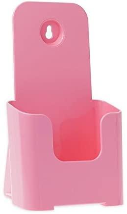 Source One Tri Fold Brochure Holder 4X9 (48 Pack, Pink)