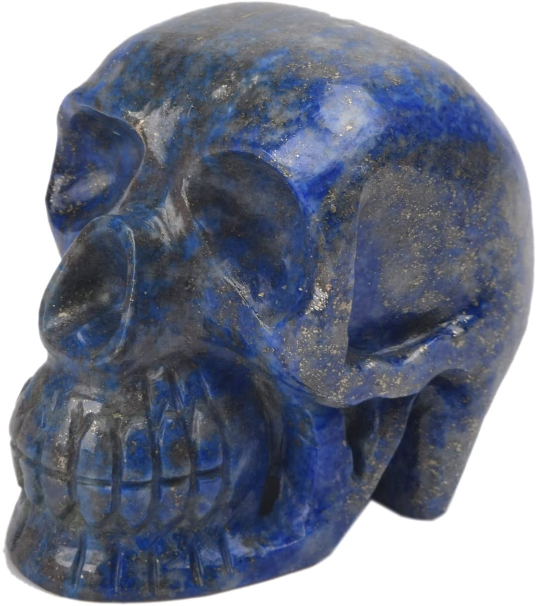 Approximately 1621.50 Ct./76 mm Handmade Human Head Skull Figurine Lapis Crystal Statue Halloween Decor DM-376