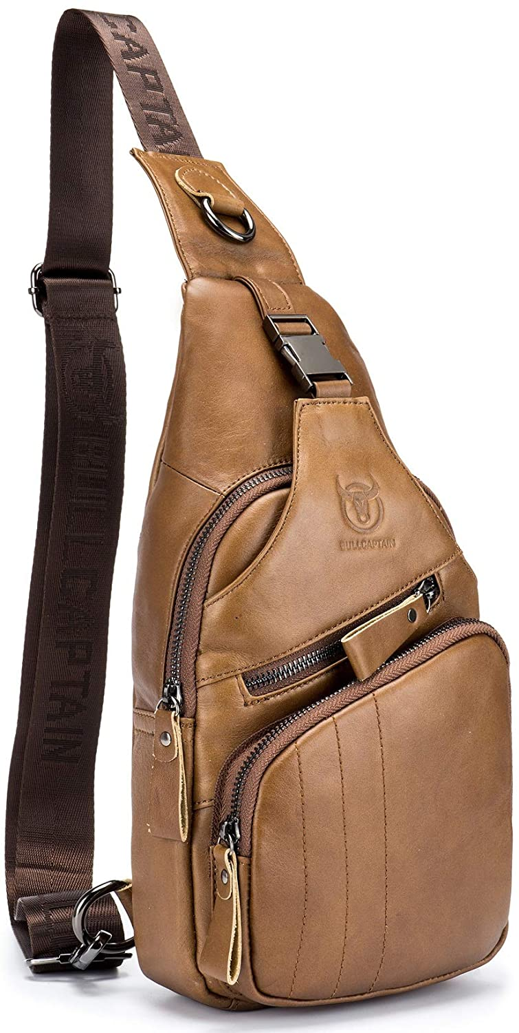 BULLCAPTAIN Leather Men Sling Bag Casual Crossbody Chest Bags Travel Daypack