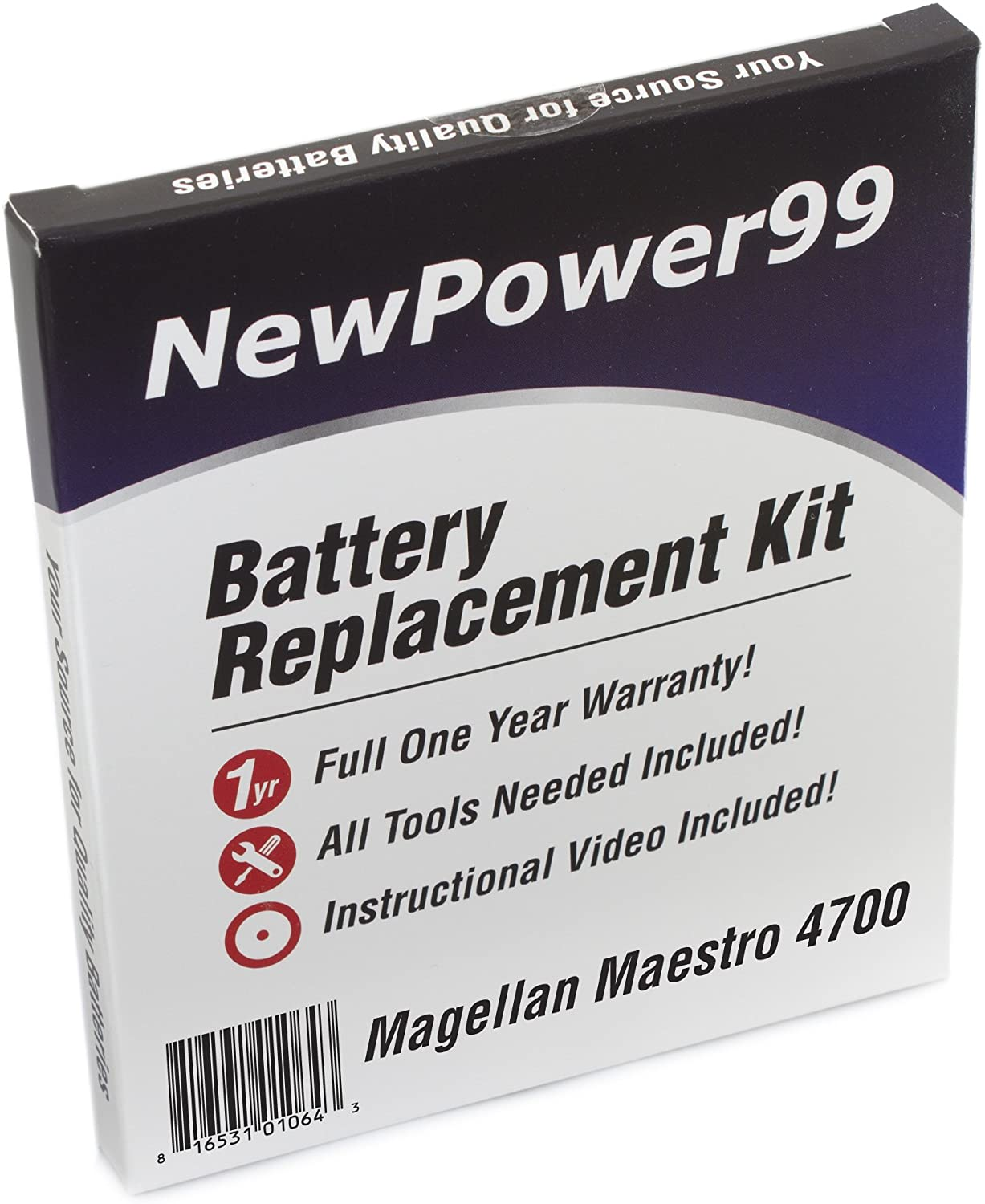 NewPower99 Battery Replacement Kit with Battery, Video Instructions and Tools for Magellan Maestro 4700