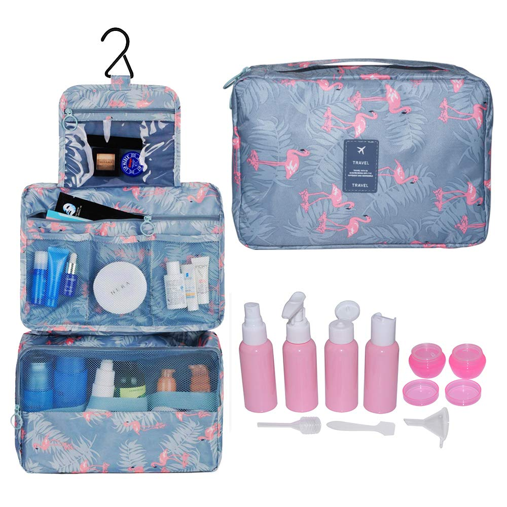 Hanging Toiletry Bag Case,Kiwivalley Durable Space Saver Makeup Cosmetic Bag with Empty Bottle Set,Portable Roomy Cosmetic Organizer for Men & Women Home or Traveling (A-flamingo)