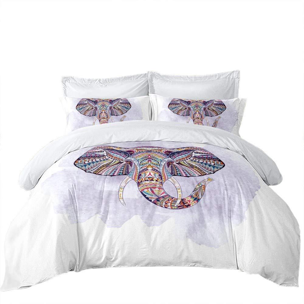 REALIN Wild Animal Elephant Purple/White Bedding Bohemian Elephant Duvet Cover Set Microfiber,2-4 PCS Quilt Cover/Sheet/Pillow Shams,Twin/Full/Queen/King