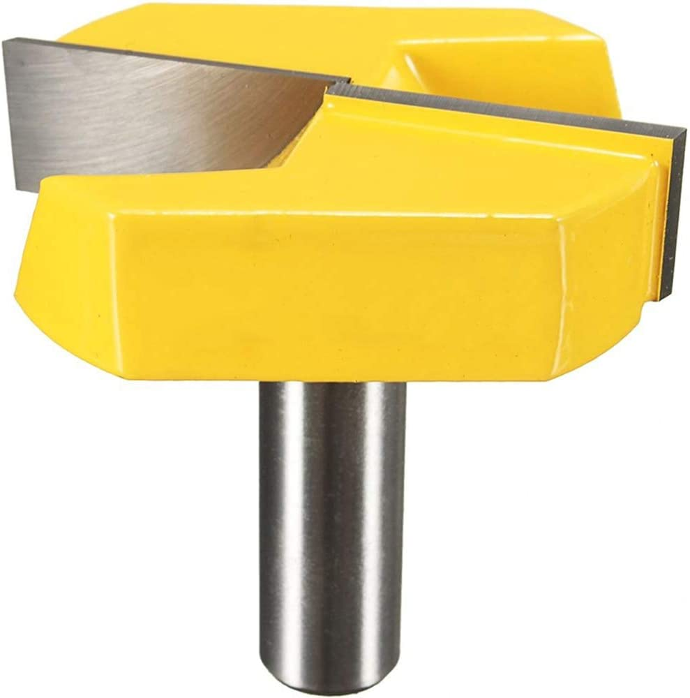 Hymnorq Bottom Cleaning Router Bit, 1/2 Inch Shank x 2-1/4 Inch Diameter, Carbide Tipped Cutter and Solid Steel Body, for Surface Planing, Flattening, Grinding in Cabinet, Drawer and Door Woodworking