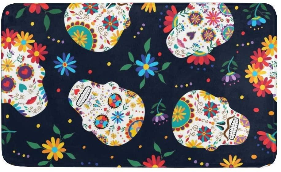 CUXWEOT Indoor Outdoor Doormat Non-Slip Backing Ultra Absorbent Mud Sugar Skull Flowers Door Mat Home Office Decorative Entry Rug Garden Kitchen Mats 23.6 x15.7 Inch
