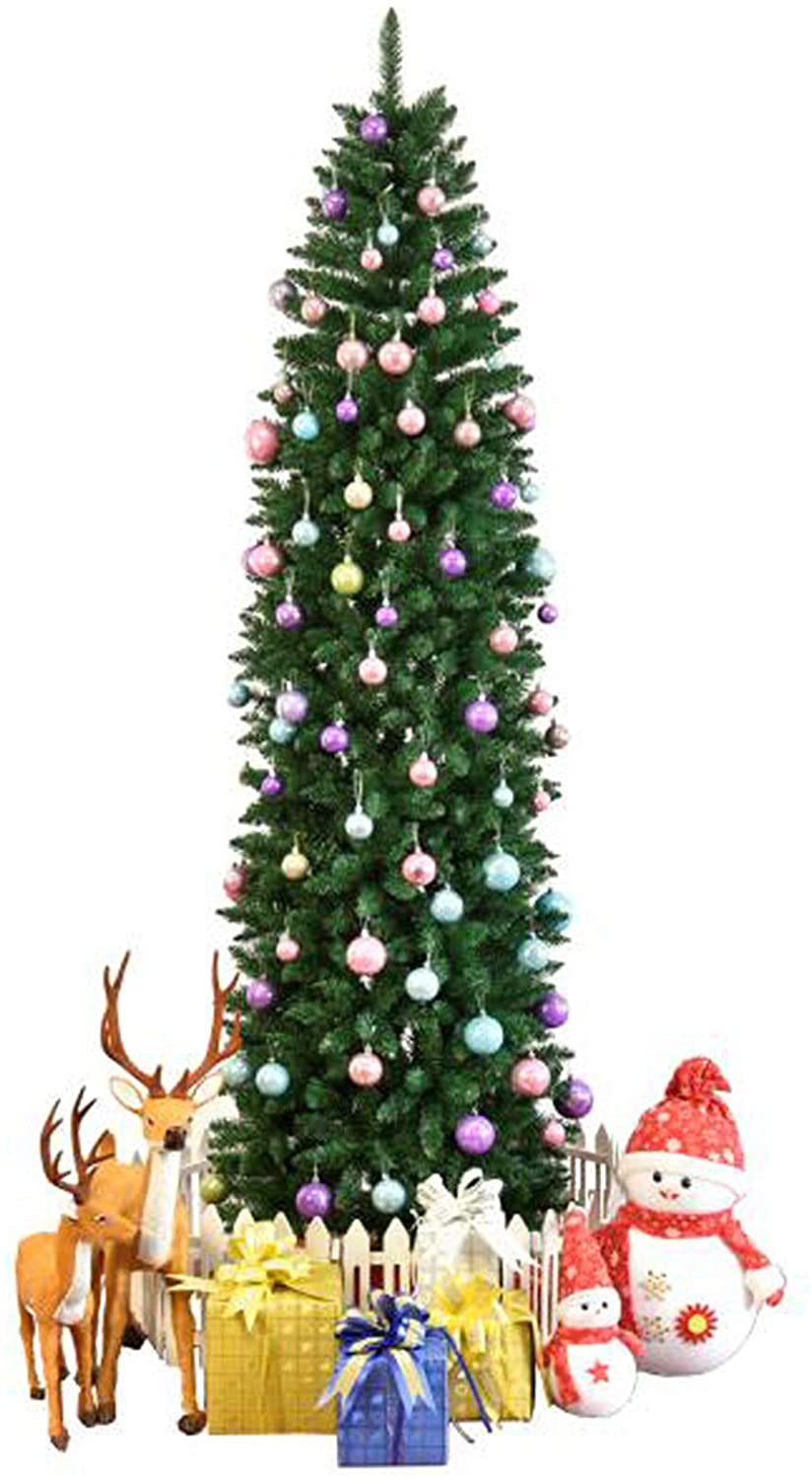 CUSGIF 7.5ft Pointed PVC Pen Holder Christmas Tree, Artificial Christmas Tree with Metal Stand for Christmas Decoration, Unlit