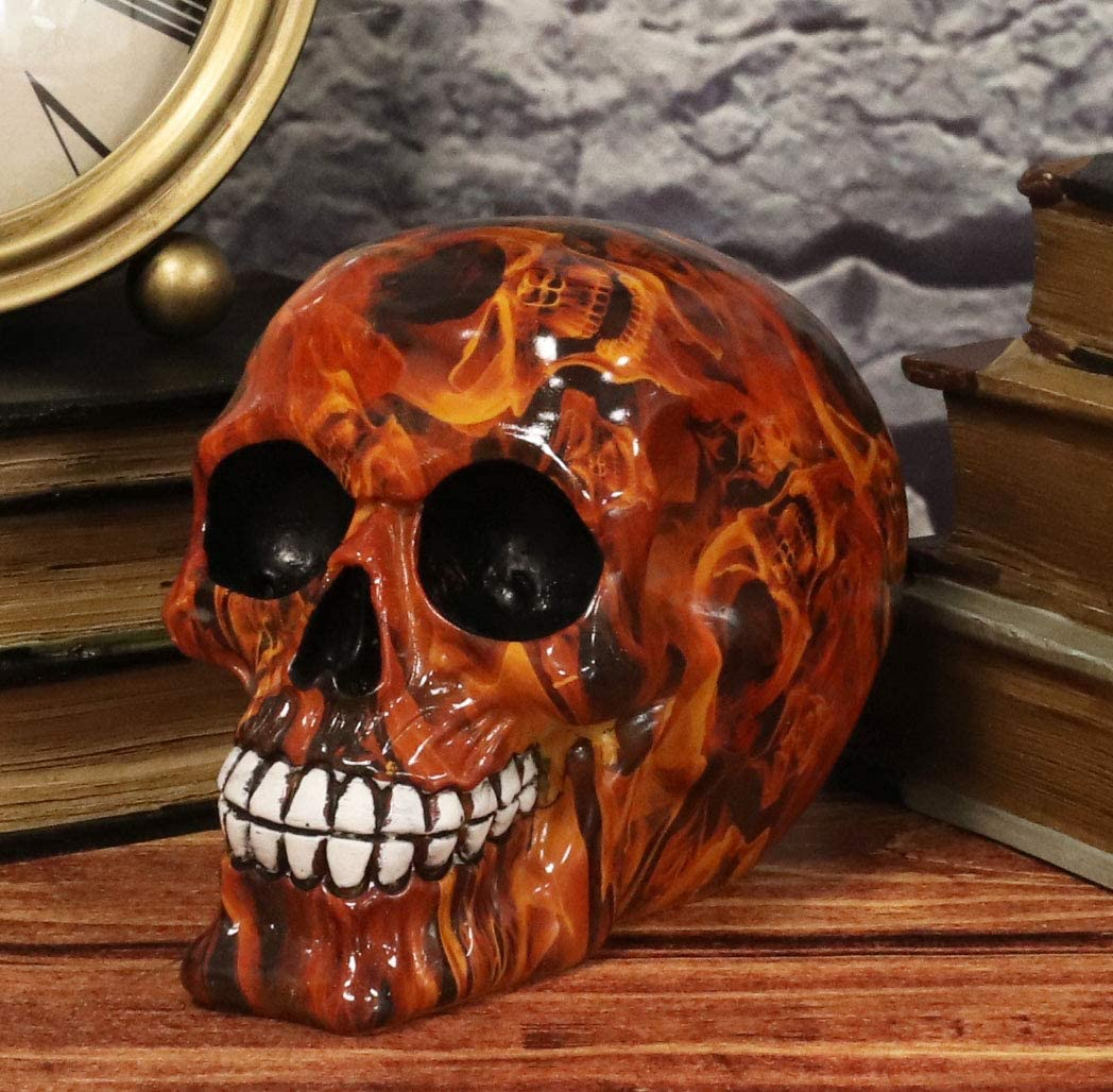 Ebros Gift Day of The Dead Dante's Inferno Burning Hell Fire Tattoo Sugar Skull Statue As Decorative Halloween Prop Gothic Haunted Themed Skeleton Cranium Figurine
