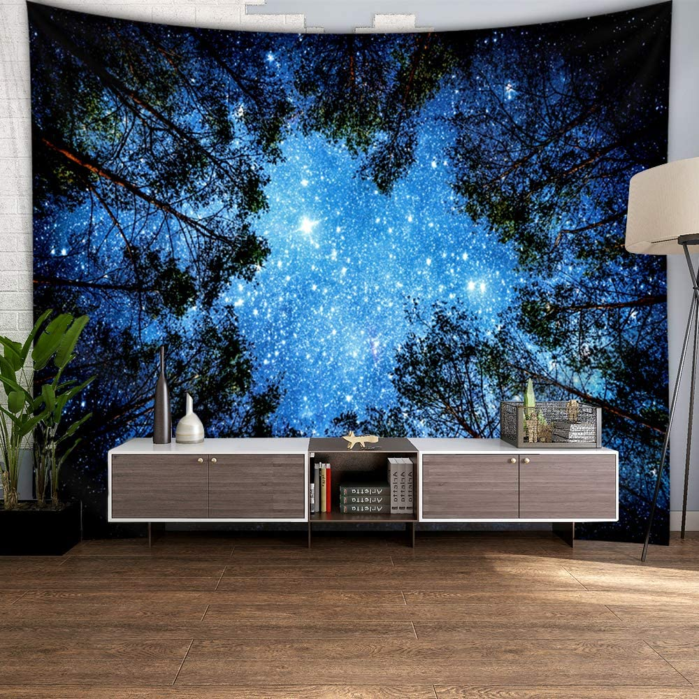 Tarnel Tapestry forest Starry Sky Universe Space Wall Hanging Psychedelic Tapestry Mysterious Nebula Stars Wall Tapestry wall hanging for Living Room Dorm bedroom (78.7