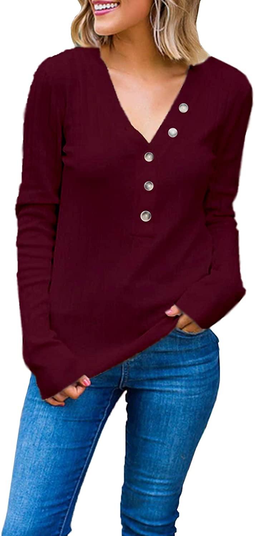 Cashsun Womens V Neck Henley Shirts Long Sleeve Ribbed Button Down Basic Tops Tees
