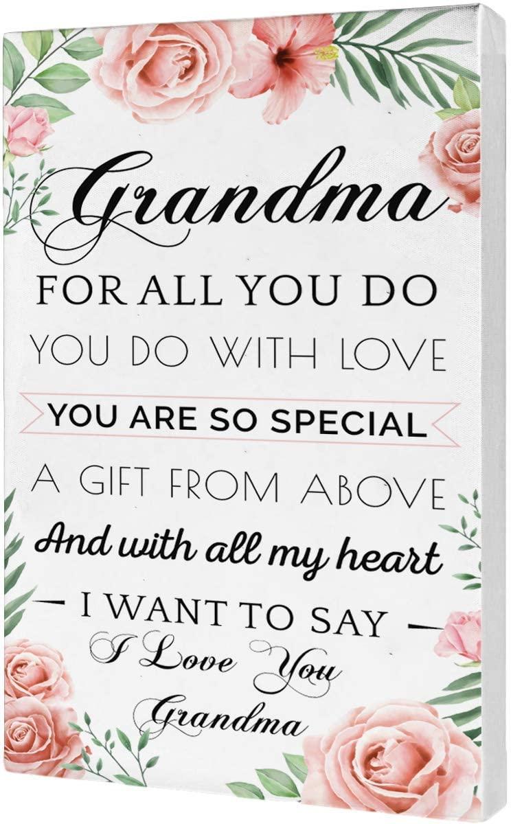 Light Autumn Grandma Gifts - Hangable Canvas Poem for Grandma - Grandma Birthday Gifts - Floral Style