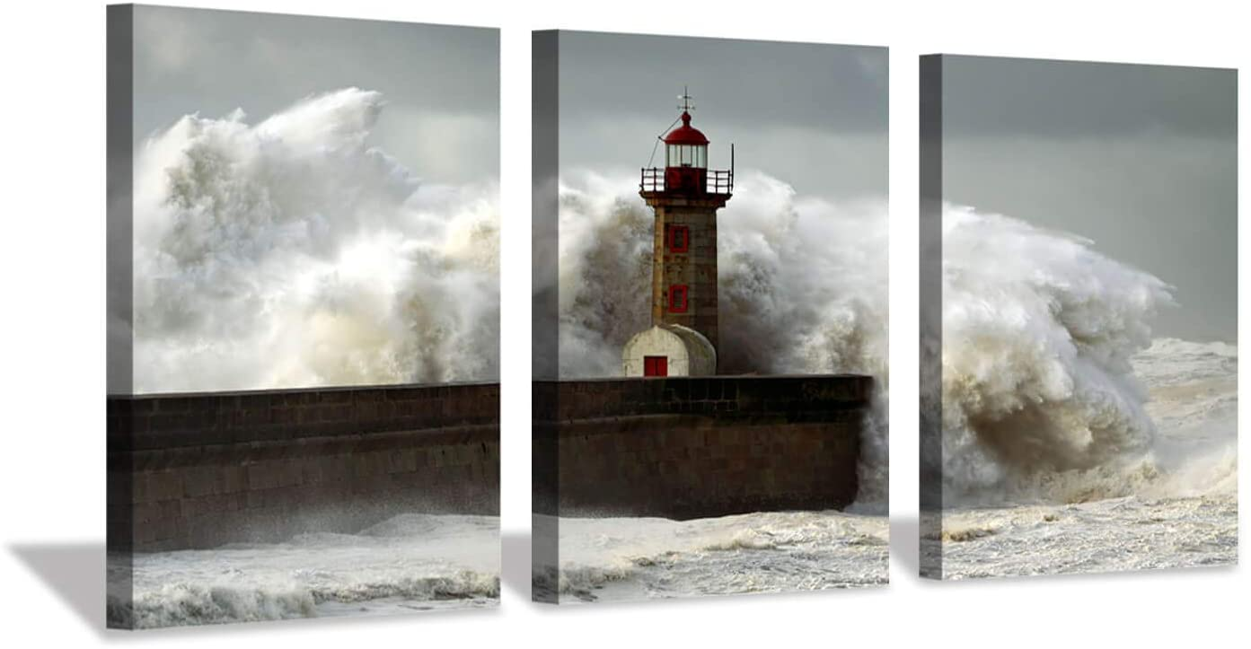 Ocean Wave Canvas Wall Art: Lighthouse Seascape Artwork Painting Print on Canvas Pictures for Living Room (16'' x 12'' x 3 Panels)